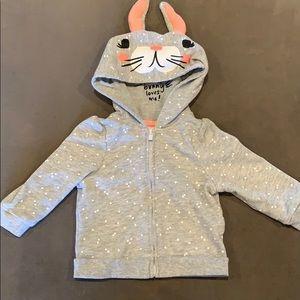 Baby Girl Polka Dot Bunny Hoodie